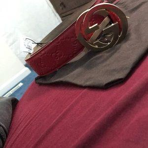 Red Guccissima print Gucci belt size 90